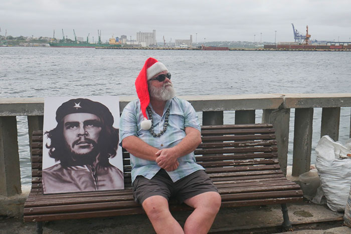 che guevara in havana with santa claus in one of my guided phototours to cuba